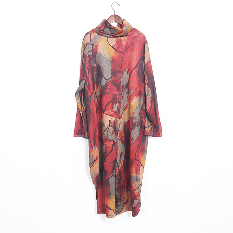 25e394f3e70 2018 Women Fashion Plus Size Maxi Dress Vintage Western Style Turtleneck  Pullover Printed Knitting Oversize Long Dress Robes-in Dresses from Women s  ...