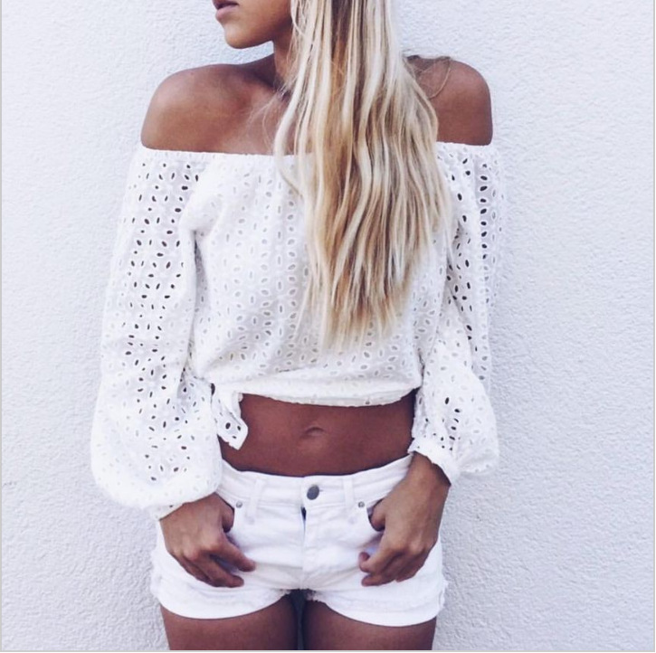 2017 Summer Autumn new 2017 off shoulder crop top t shirts hot sale long sleeve solid White Hollow Out short t-shirts for women