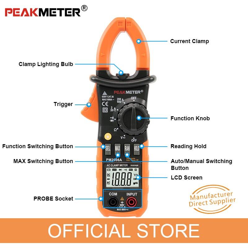 PEAKMETER PM2008A Medidores de pinza digitales Medidor de pinza de - Instrumentos de medición - foto 4