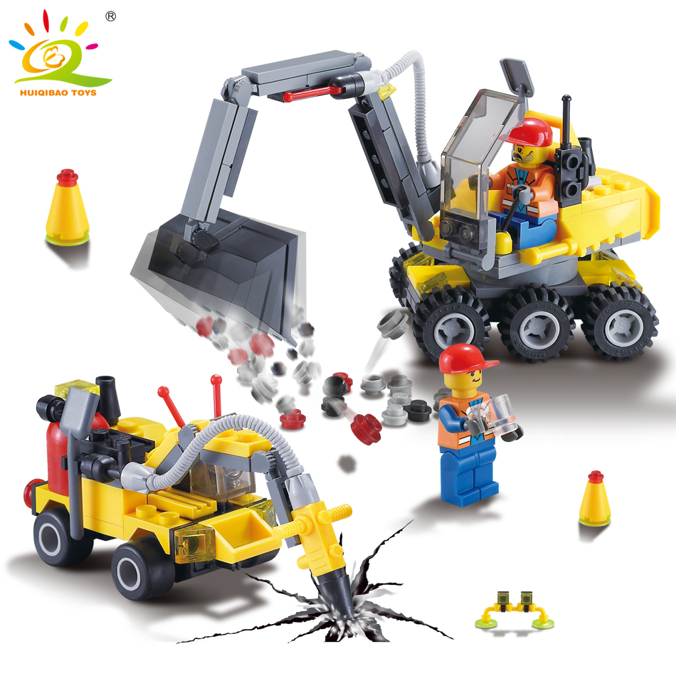 все цены на 196pcs City Construction Excavator Building Block Compatible legoed figures Educational DIY Bricks Toys for children boy Gift онлайн