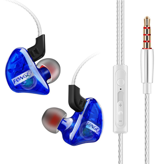 Fonge auriculares T01 transparentes, intrauditivos Subwoofer estéreo de graves con micrófono para teléfono inteligente HTC y Huawei