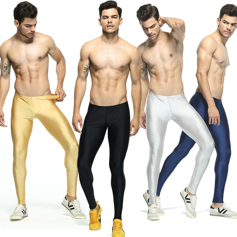 цена на Men's Solid Color Running Tights Elastic Skinny Workout Leggings Basketball Mens Compression Tights Men Leggins Run