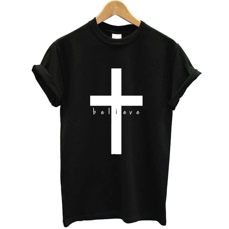 Christian T Shirt Women Printing Cross Funny Summer Tops Short Sleeve Loose Fit Women Tshirt Faith Clothing Streetwear Brand in T Shirts from Women 39 s Clothing