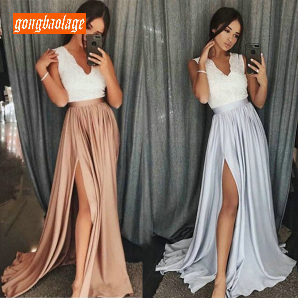 Fashion Long Party   Evening     Dress   2019 Sexy   Evening   Gown V Neck Satin Lace Zipper A-Line Slit Slim Fit Formal Maxi   Dresses   Prom