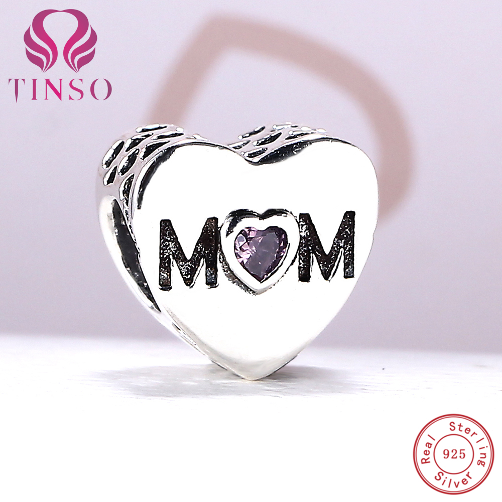 100% Authentic 925 Sterling Silver Moms Heart Charm Beads Fit Pandora Charm Bracelet DIY Original Silver Jewelry Making