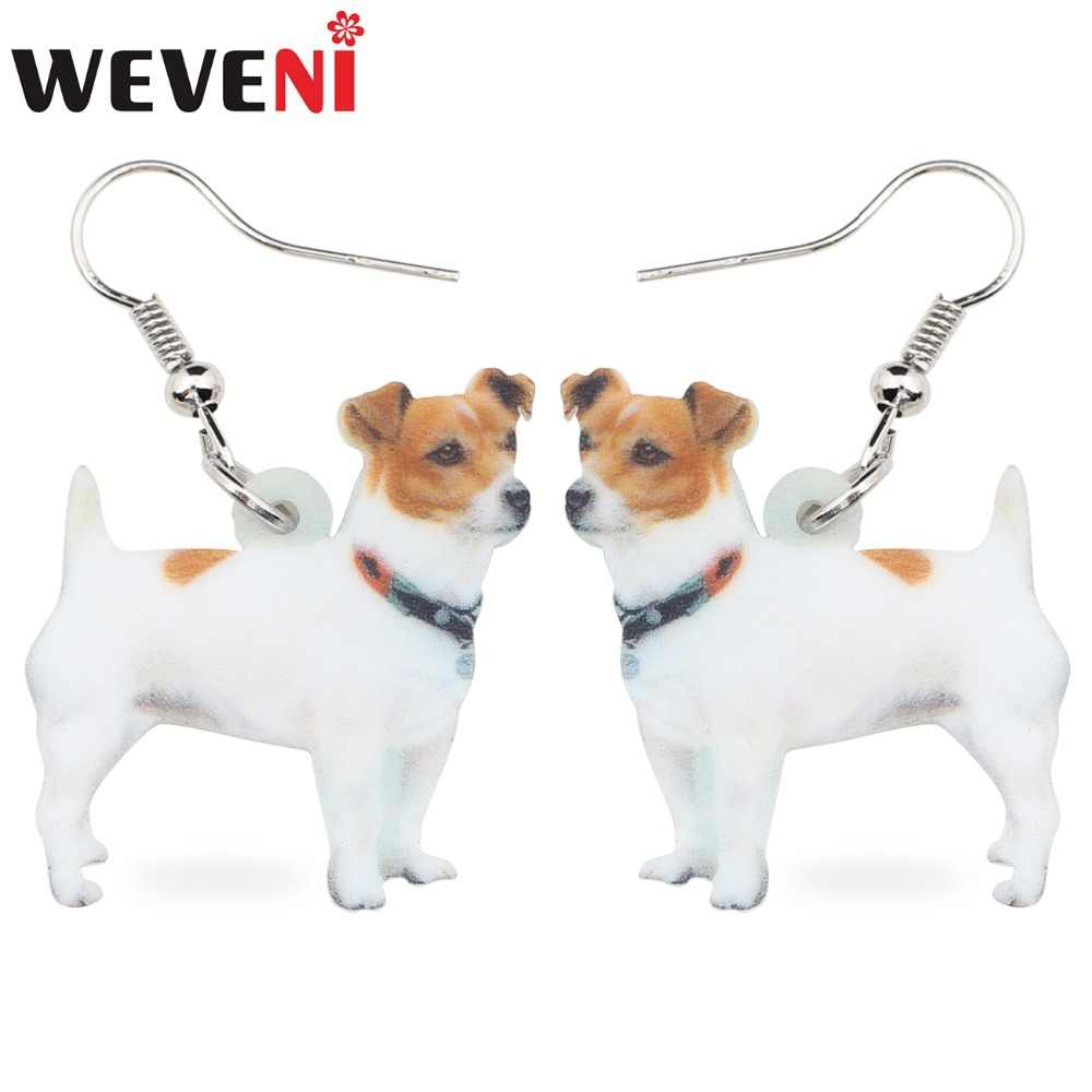 WEVENI Statement Acrylic Jack Russell Dog Earrings Drop Big Long Dangle Animal Jewelry For Girls Women Ladies Cheap Accessories