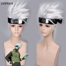 Anime Hatake Kakashi Cosplay Wigs (Not Include Headwear ) Halloween Party Stage Props Play Silver White Short Hair High quality(China)