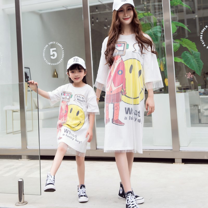 Family Matching Outfits Mother Kids Summer Clothing Set 2018 Mum Mom and Daughter Dress Loose Style Sisters Bestfriend Shirts