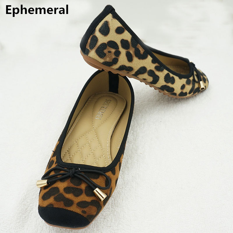 Women flat shoes square toe bow knot soft sole europqan and american style spike shoes leopard print brown yellow plus size 43 9 pop art style leopard print pattern square shape pillowcase