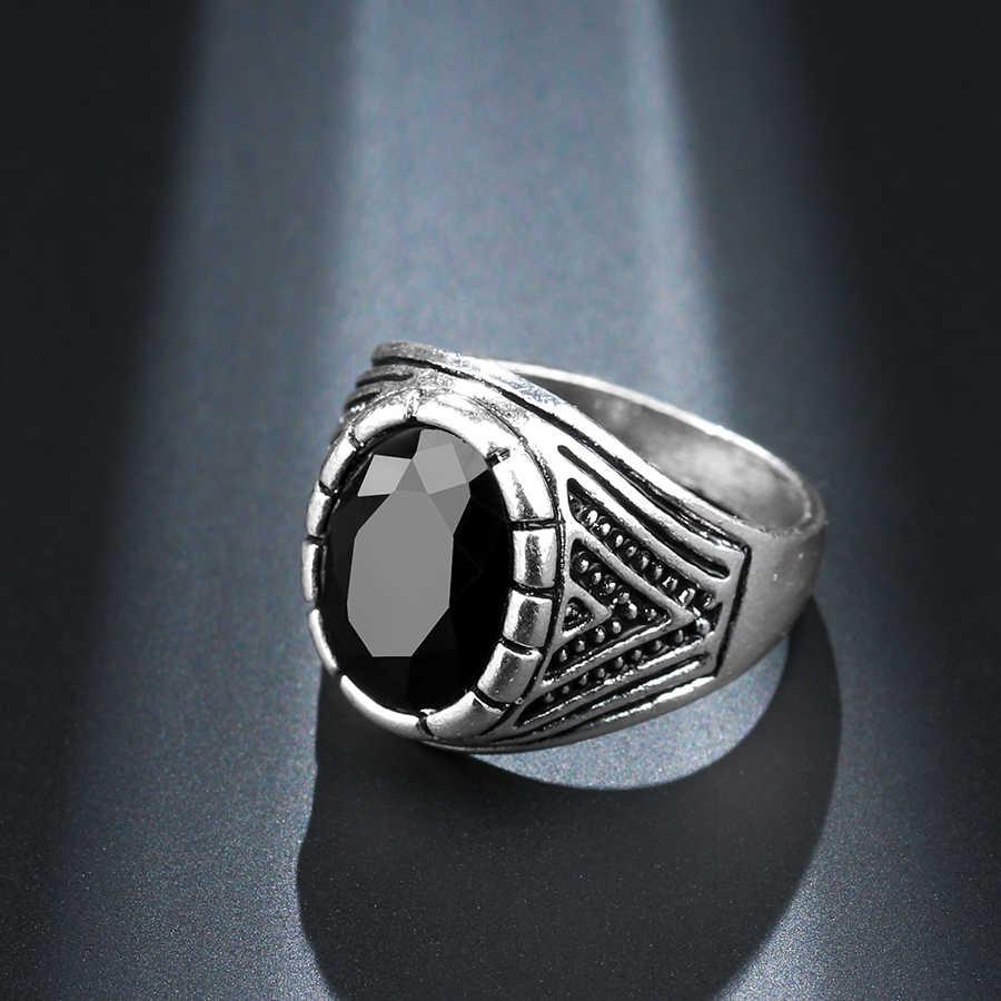 Wbmqda Charms เงินโบราณสีดำ Vintage แหวนผู้ชาย Cool Ox Totems Steam Punk เครื่องประดับของขวัญ 2018 Hot Drop Shipping