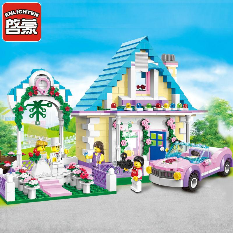 все цены на 613Pcs ENLIGHTEN 1129 Girl Friends Marriage Room Wedding Bridegroom Figure Blocks Building Bricks Toys For Children Compatible