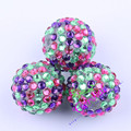 R83 Free Shipping 100Pcs/Bag 20MM Purple/Lime Green/Hot Pink Color Rhinestone Beads For Chunky Necklace Accessories CDBD-601530