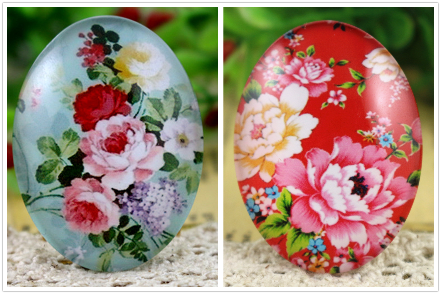 Bild von New Fashion 2pcs 30x40mm Handmade Photo Glass Cabochons (Fashion Flowers)