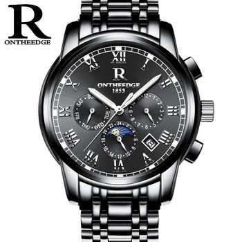 RONTHEEDGE Classic Mechanical Watches Men Automatic Moon Phase Steel Wristwatches Auto Date Chronograph with gift box RZY016