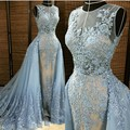 Sexy Imported Party Dresses Ice Blue Tulle Appliques Beads Long Mermaid Prom Dresses 2017 With Detachable Skirt Vestido De Festa