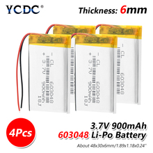 3.7V 900mAh 603048 Li Po Battery Lipo cells Lithium Polymer Li Po li ion Battery For Toy Drone MP3 MP4 GPS PSP Speaker DIY
