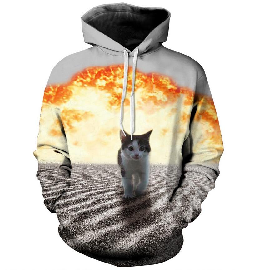 Harajuku hoodies desert Explosion Cat printed 3d hooded shirts Women Men punk Sweatshirts Casual Sweats cat hoody