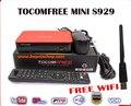 Tocomfree mini s929 1 unid wifi usb fta receptor de satélite digital full hd dvb s/s2 sintonizador gemelo iks sks para suramérica