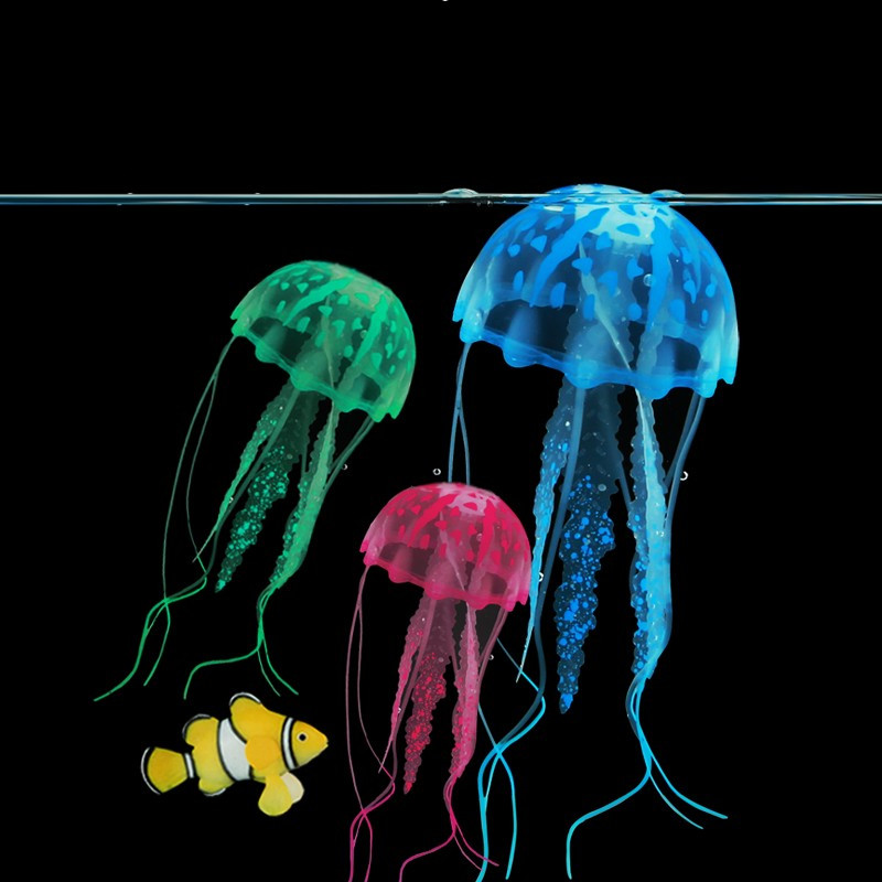 6psc 6color with box fluorescence jellyfish glowing for Aquarium jellyfish decoration