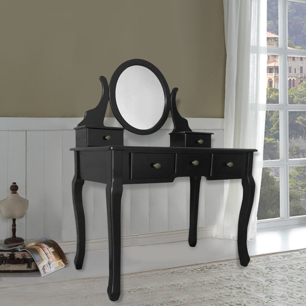 Makeup Dressing Table Vanity and Set With Drawer Bench Solid Wood Dressing With Swivel Oval Mirror Makeup Mirror Beauty Desk