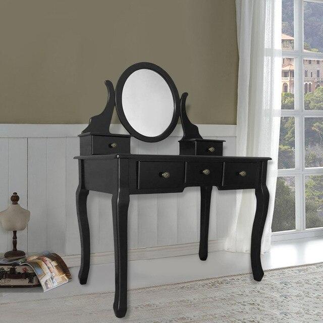 maquillage coiffeuse vanite et ensemble avec tiroir banc en bois massif dressing avec pivotant ovale miroir