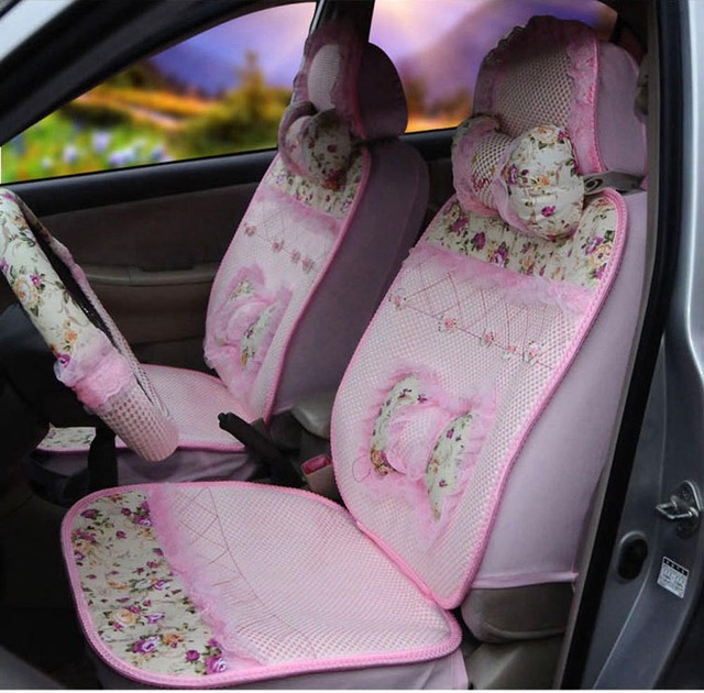 Summer Fashion Cute Car Seat Covers Ice Silk 1 Sets Light Pink Steering Wheel Cover