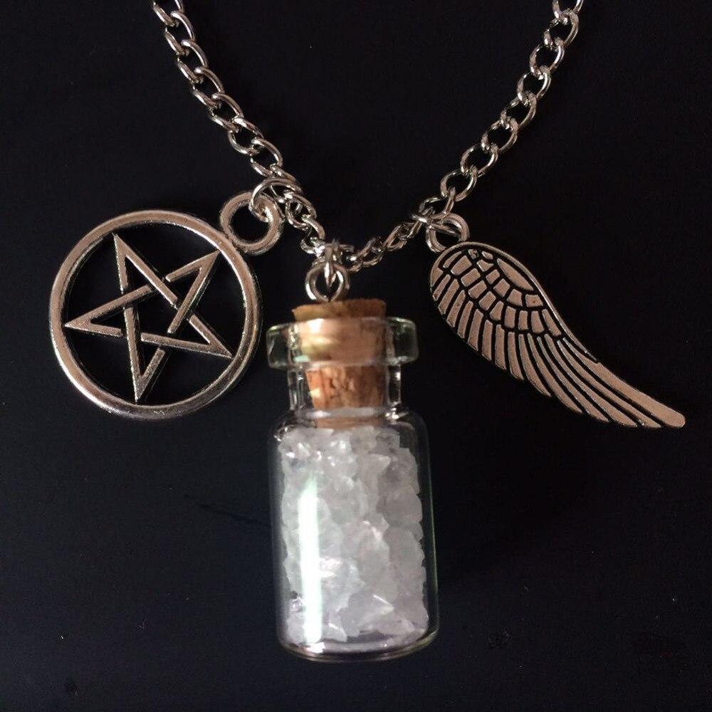 Supernatural  Protection *Keyring Chain* Pentagram Angel Wing Salt Crystals Bottle GIFT