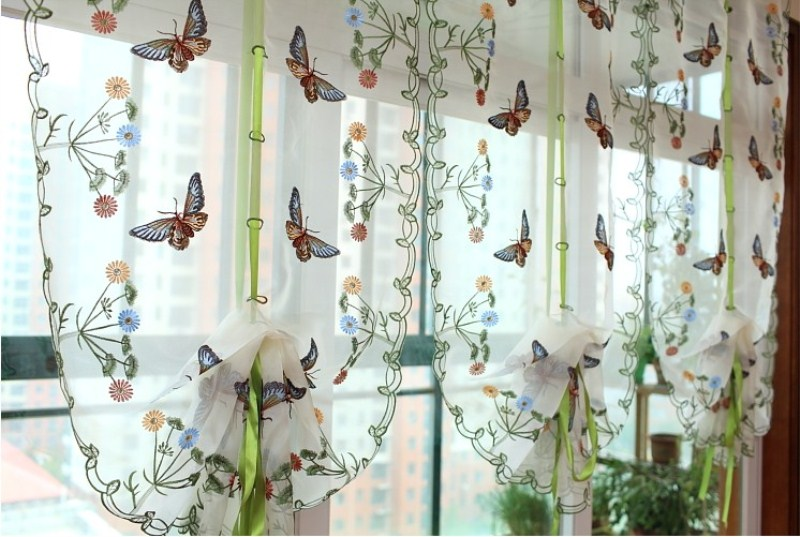 Exquisite Butterfly Embroidered Pattern Tulle Curtains