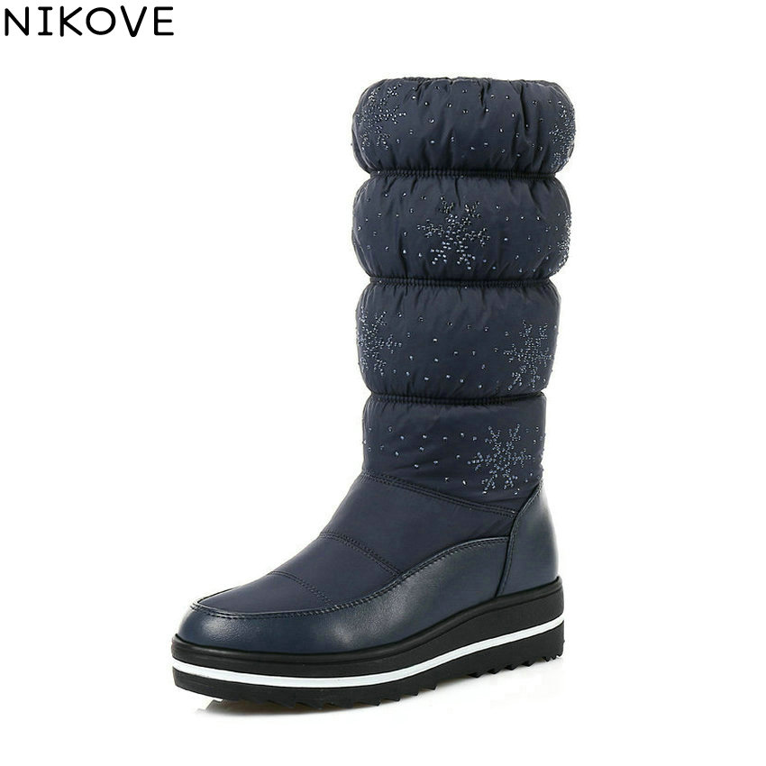 NIKOVE 2018 Cod Winter Mid-calf Boots Keep Warm Women Boots Black Blue Plush Snow Boots Wedges Med Heel Lady Boots Size 35-43