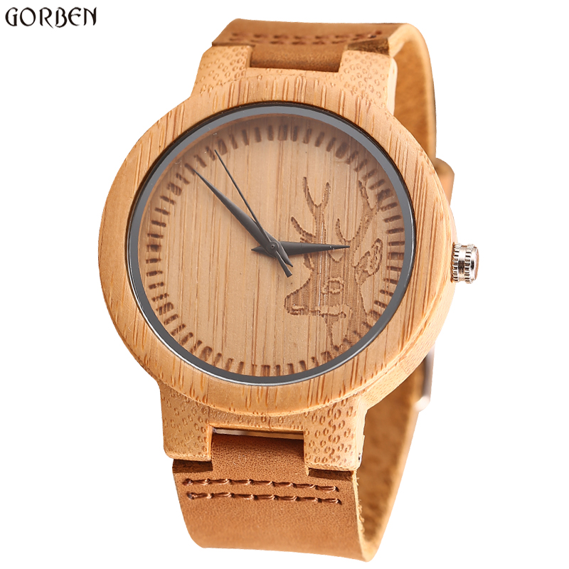 цены Unisex Vintage Deer Head Styles Bamboo Wood Watches Men's Luxury Brand Clock Women Watch Nature Wooden Wristwatches Relogio Gift