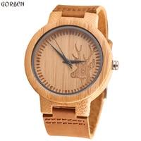 Unisex Vintage Deer Head Styles Bamboo Wood Watches Men S Luxury Brand Clock Women Watch Nature