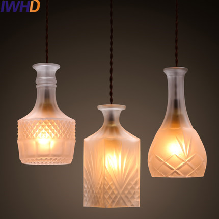 IWHD Modern Led Hanging Lamp Creative Glass Bottle Pendant Lights Home Lighting Fixtures Kitchen Dining Room Suspended Lamp iwhd led pendant light modern creative glass bedroom hanging lamp dining room suspension luminaire home lighting fixtures lustre