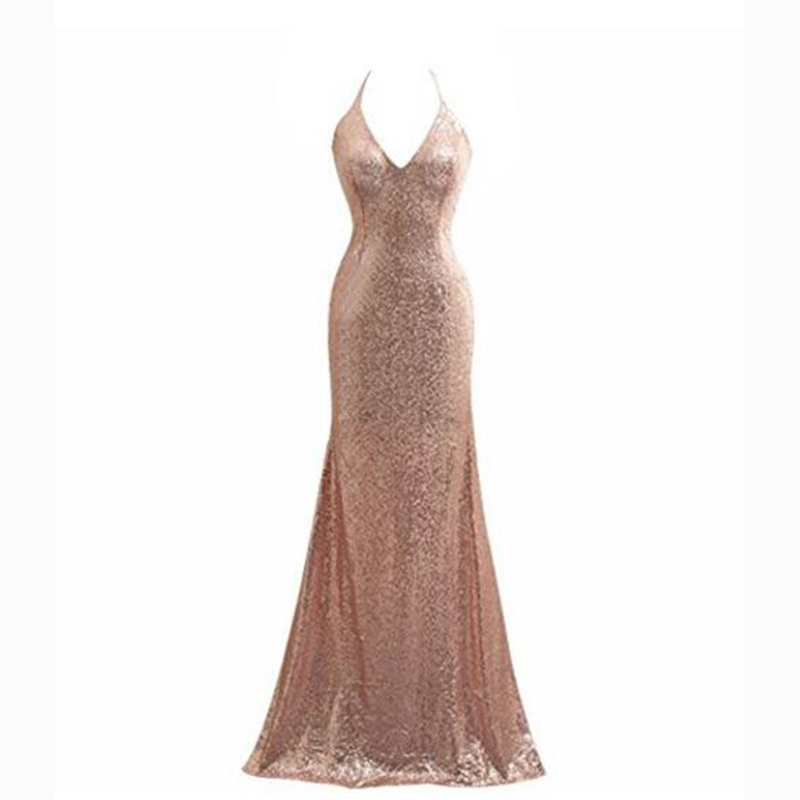 Multi Style Rose Gold Sequined Mermaid Bridesmaid Dresses Halter ...