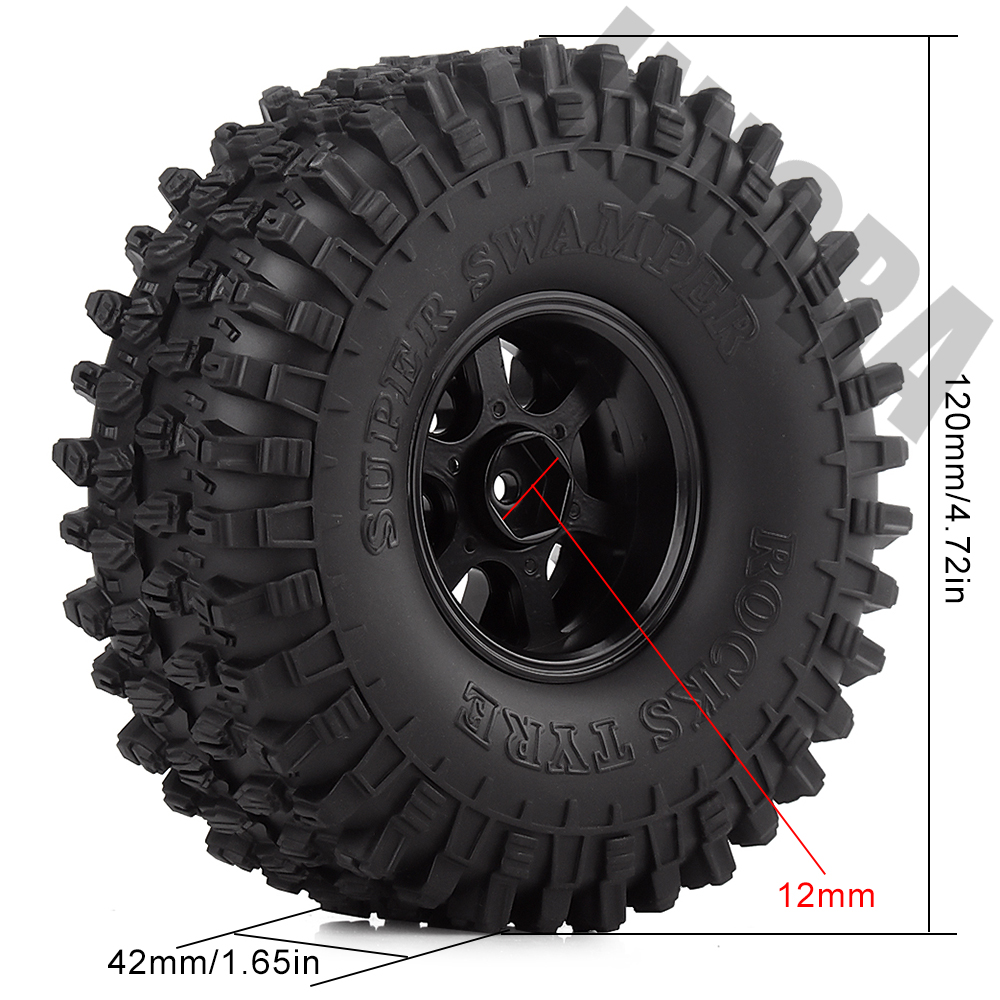 "Image 5 - INJORA 4Pcs 1.9"" Beadlock Wheel Rim & 1.9 Rubber Tires Set for 1/10 RC Crawler Axial SCX10 90046 RC Car Parts-in Parts & Accessories from Toys & Hobbies"