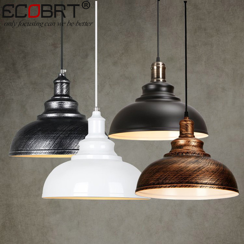 ECOBRT NEW Vintage wine bar LOFT Pendant Lighting Fixture creative industrial Cafe Restaurant Iron ceiling lamps E27 Socket new loft vintage iron pendant light industrial lighting glass guard design bar cafe restaurant cage pendant lamp hanging lights