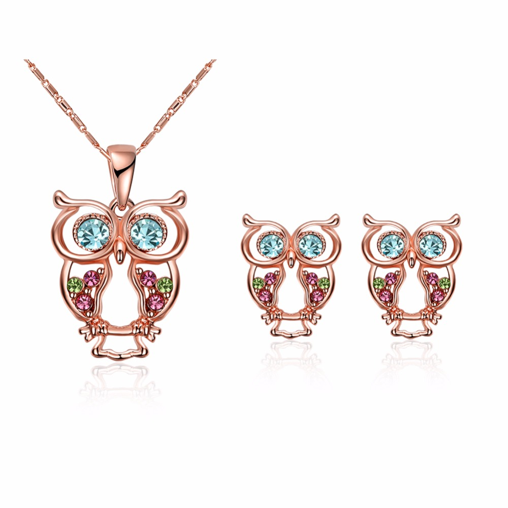Owl Jewelry Sets Rose Gold...