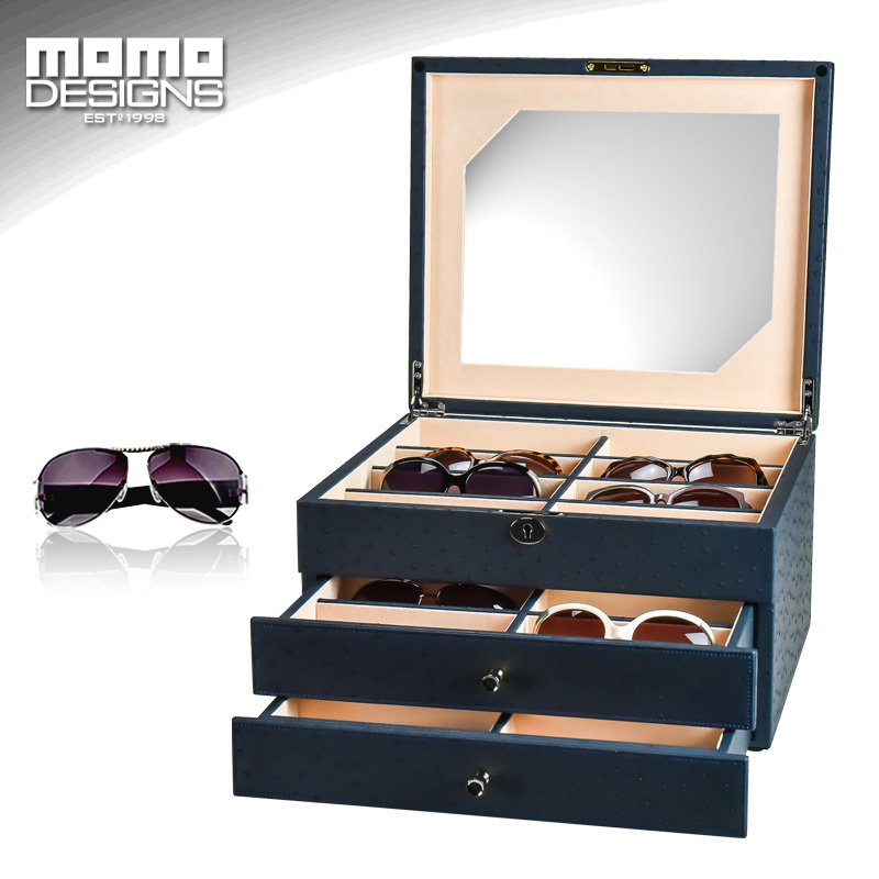 24 Sunglasses storage box Leather packaging for glasses organizer display Jewelry showcase High end Carbon PU wrapped