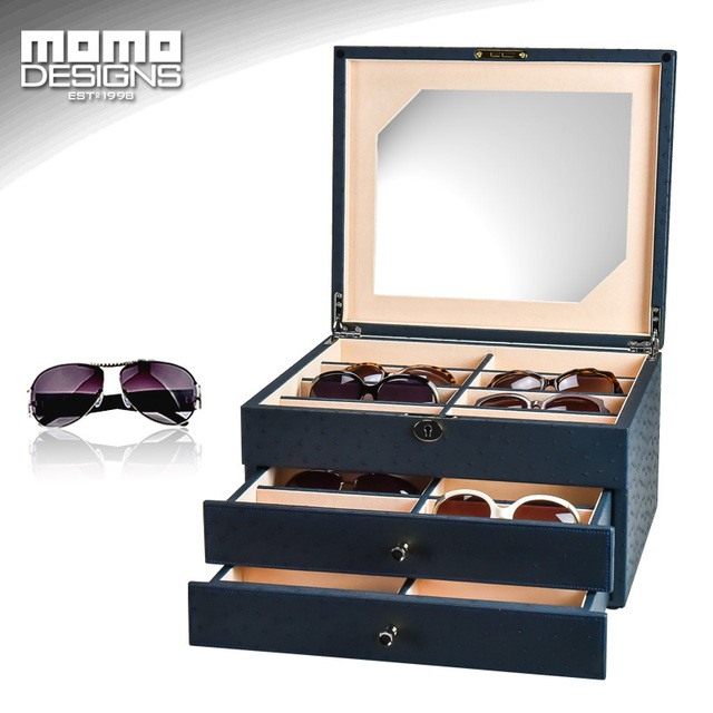 24 Sunglasses Storage Box Leather Packaging For Glasses Organizer Display  Jewelry Showcase High End Carbon PU