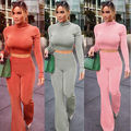 Women's O Neck Crop Tops And Skirt Set Women Sexy Long Sleeve Autumn Tracksuit Long Pants Set Plus Size Tracksuits Women's
