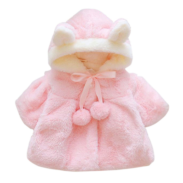 854ea3923 Baby Girl Winter Clothes Toddler Cartoon Rabbit Ears Hooded Coat ...