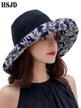 両面大型ワイドつば葉プリント夏太陽の帽子コットン折りたたみ抗 Uv ビーチハット屋外女性サンシェードキャップ