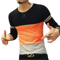 2016 New Arrival Men's Brand T Shirt Fashion Trend Orange Yellow Patckwork Casual T Shirts Men Slim Fitness Plus Size T SHIRT