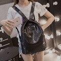 Couro macio bolsa de ombro feminino saco da faculdade 2016 novo saco Coreano feminino lazer moda viagem mochila grande capacidade