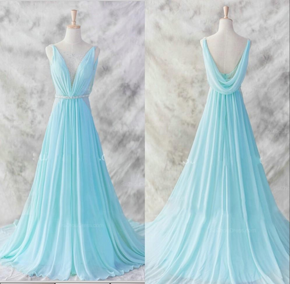 Vintage Dresses Blue Wedding: Floor Length Short Trains Vintage Bridesmaid Dresses Light