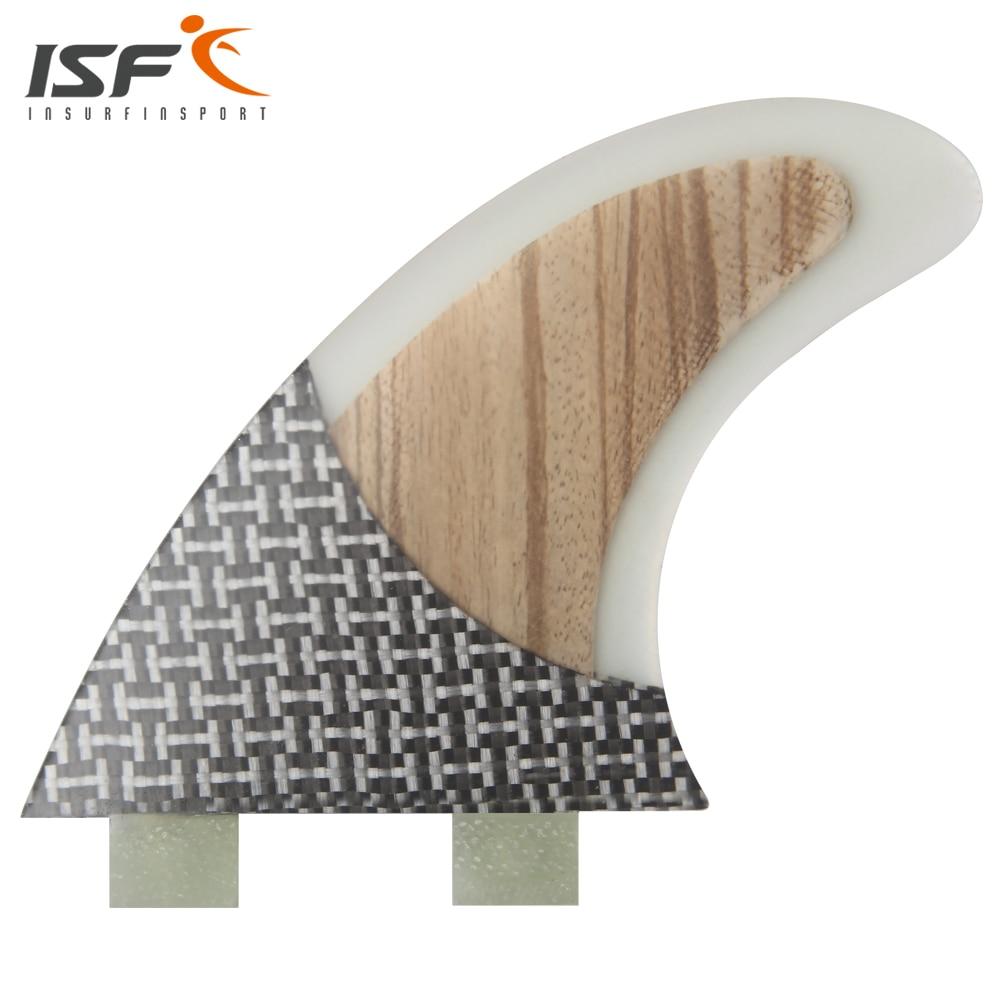 Insurfin Surfbrett Flossen Strahlruder tri fin Set (3) FCS Kompatibel Innegra + Holz Klar Große Surf Fin