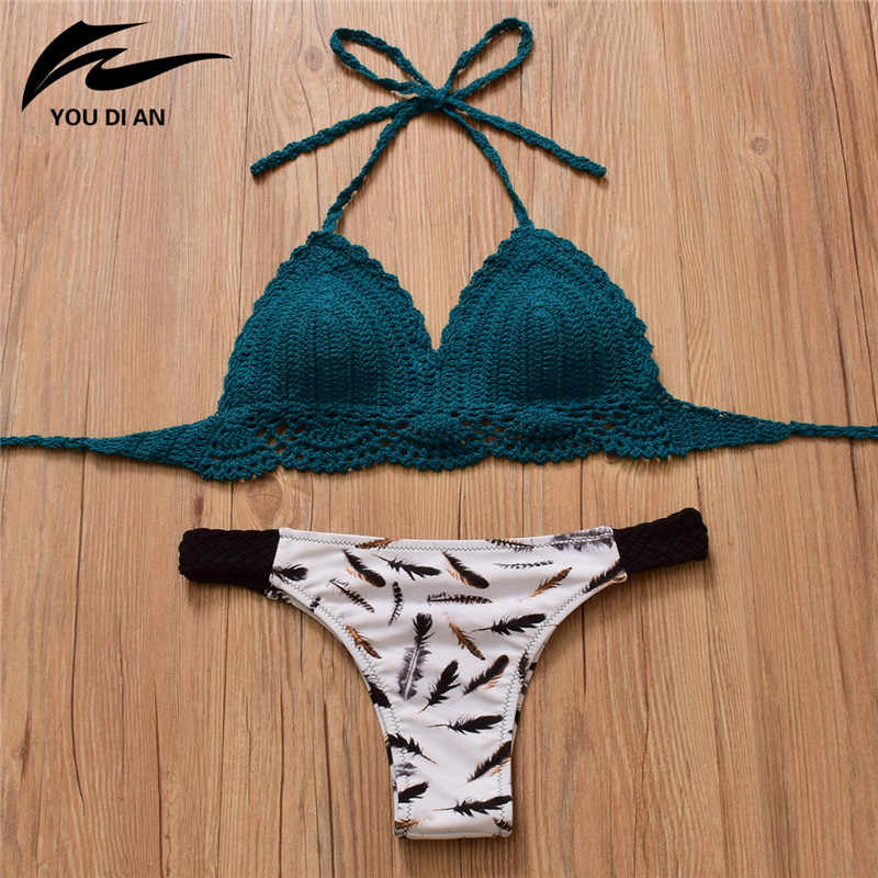 9c3901ad313 2019 Summer Crochet Bikini set push up Knitted Top Sexy Swimsuit Print  bikinis Swimwear Women swimming