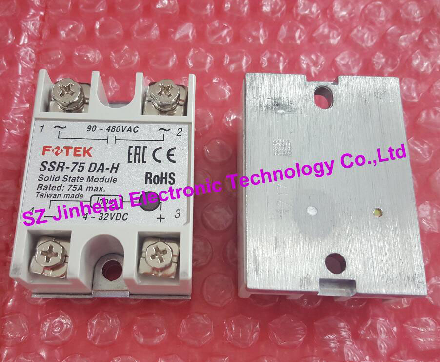 цена на 100% Authentic original SSR-75DA-H, SSR-75DA FOTEK High voltage SSR SOLID STATE RELAY 75A