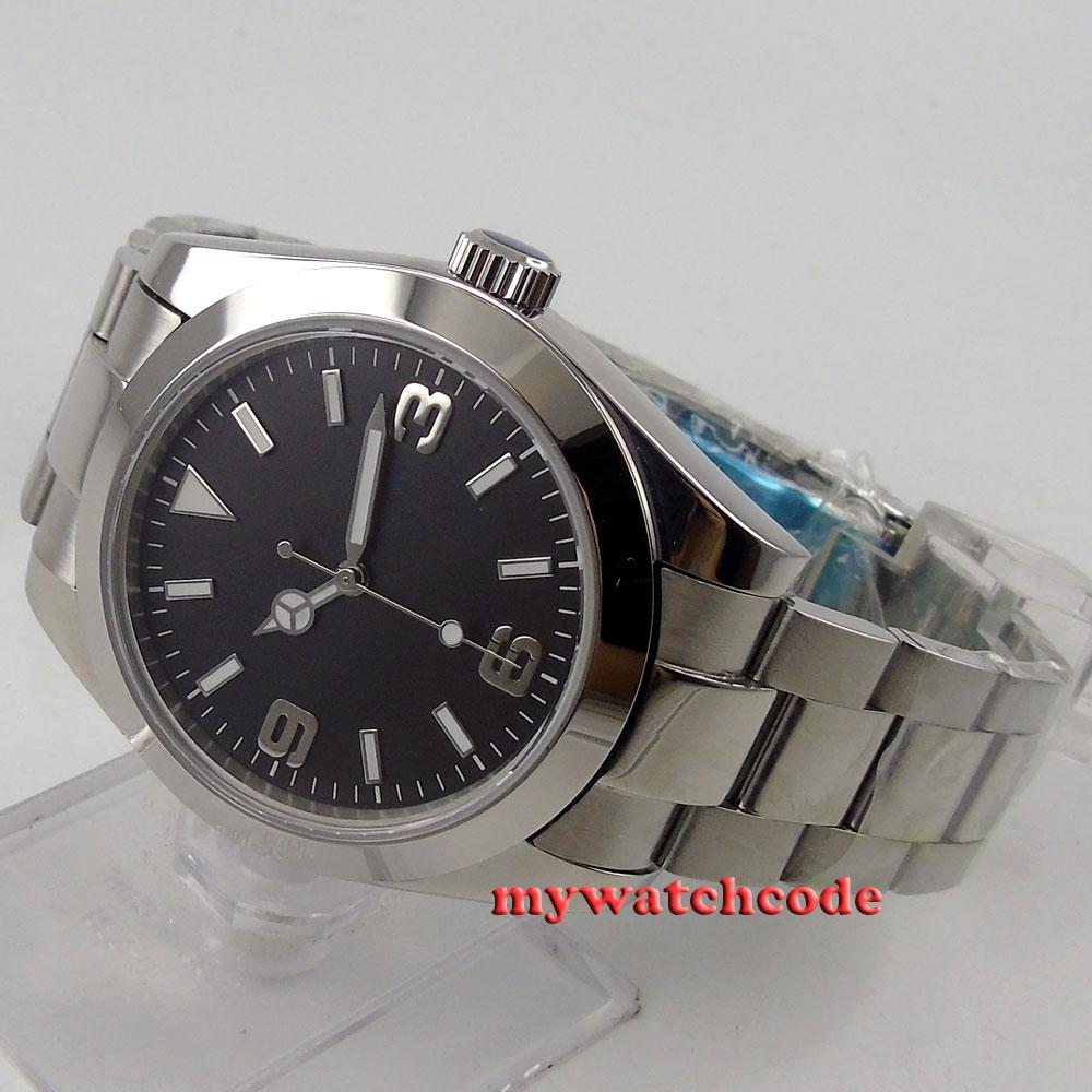 40mm Parnis Black Dial Sapphire Glass No Date Window Automatic Mens Watch Luxury Brand Watch Men 510