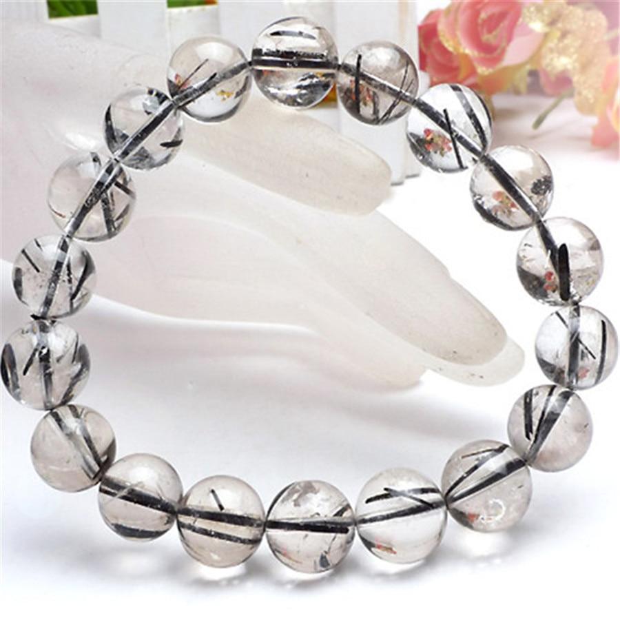 10mm Natural Brazil Black Bracelet Hair Rutilated Quartz Round Beads Stretch