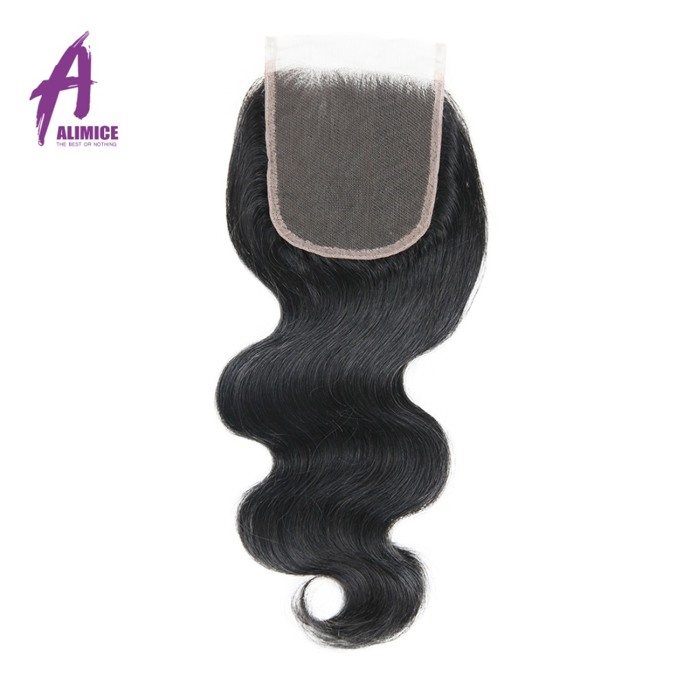 Alimice Brazilian Body Wave Lace Closure Free Part 4x 4 Non Remy font b Hair b